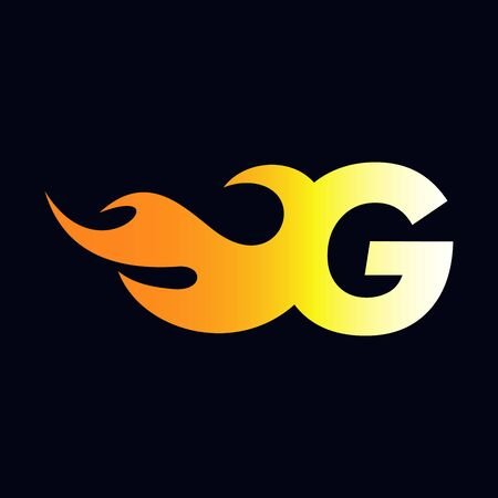 Strong and Bold logo design Initial letter G combine with flame Stock Illustratie