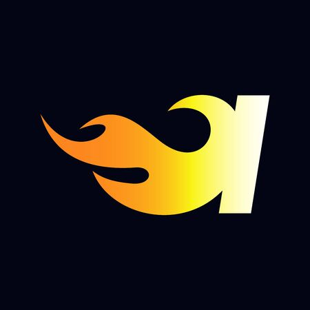 Strong and Bold logo design Initial letter I combine with flame