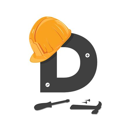 Bold and Strong logo design Initial D for industry related construction.