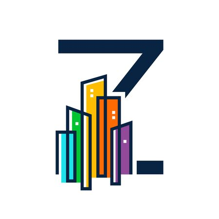 Simple, Clean and Eye catching logo design combining initial letter Z with colorful mono line building.
