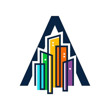 Simple, Clean and Eye catching logo design combining initial letter A with colorful mono line building.