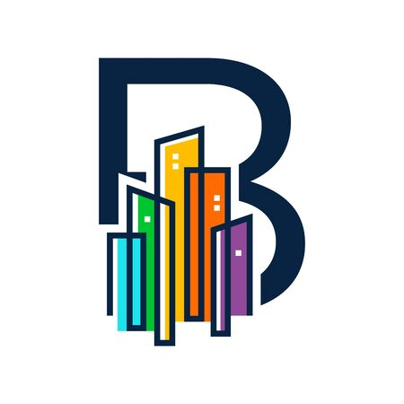 Simple, Clean and Eye catching logo design combining initial letter B with colorful mono line building.