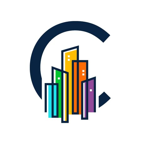 Simple, Clean and Eye catching logo design combining initial letter C with colorful mono line building.