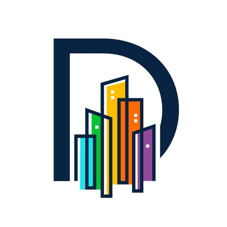 Simple, Clean and Eye catching logo design combining initial letter D with colorful mono line building.