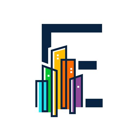 Simple, Clean and Eye catching logo design combining initial letter E with colorful mono line building.