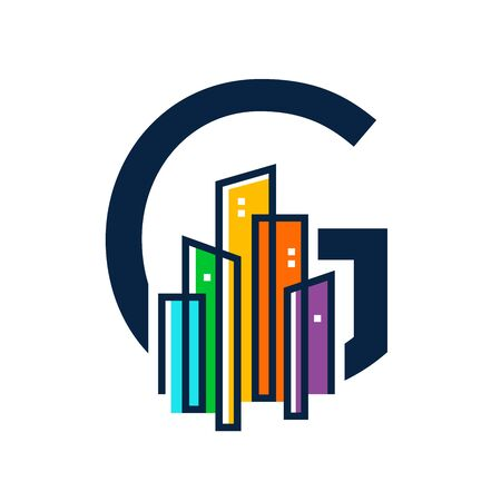 Simple, Clean and Eye catching logo design combining initial letter G with colorful mono line building.