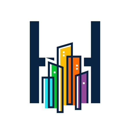 Simple, Clean and Eye catching logo design combining initial letter H with colorful mono line building.
