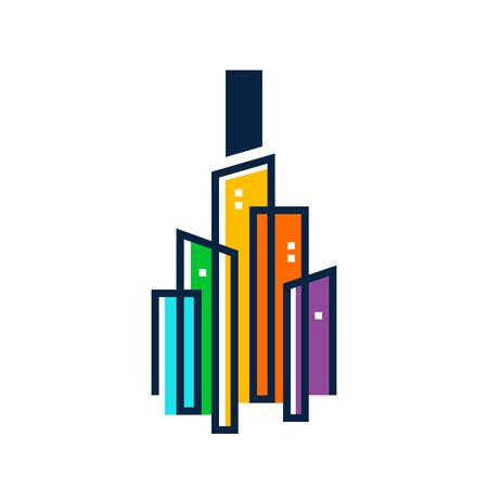 Simple, Clean and Eye catching logo design combining initial letter I with colorful mono line building.
