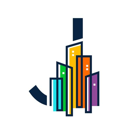 Simple, Clean and Eye catching logo design combining initial letter J with colorful mono line building. Illustration