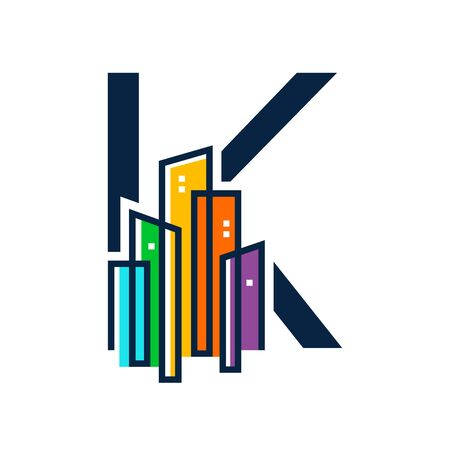Simple, Clean and Eye catching logo design combining initial letter K with colorful mono line building. Illustration