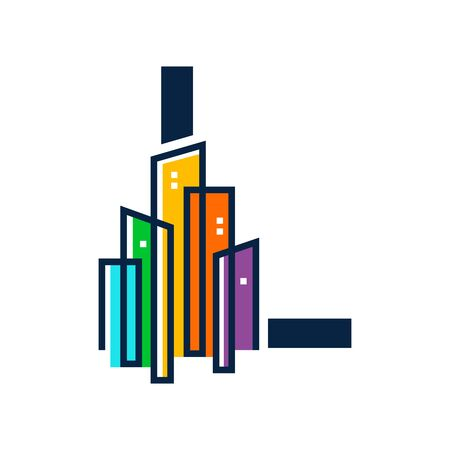 Simple, Clean and Eye catching logo design combining initial letter L with colorful mono line building.