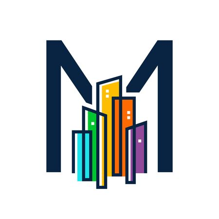 Simple, Clean and Eye catching logo design combining initial letter M  with colorful mono line building. Illustration