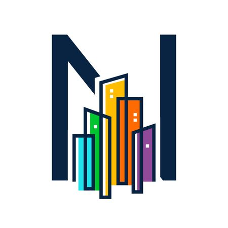 Simple, Clean and Eye catching logo design combining initial letter N with colorful mono line building.