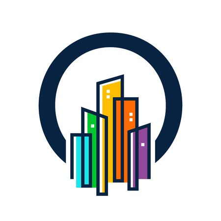 Simple, Clean and Eye catching logo design combining initial letter O with colorful mono line building. Illustration