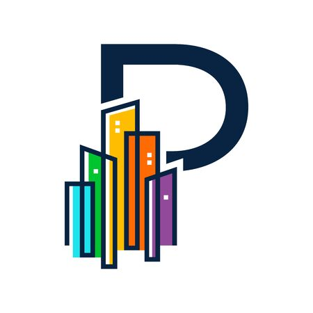 Simple, Clean and Eye catching logo design combining initial letter P with colorful mono line building.