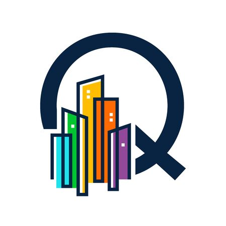 Simple, Clean and Eye catching logo design combining initial letter Q with colorful mono line building.