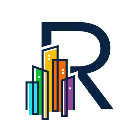 Simple, Clean and Eye catching logo design combining initial letter R with colorful mono line building.