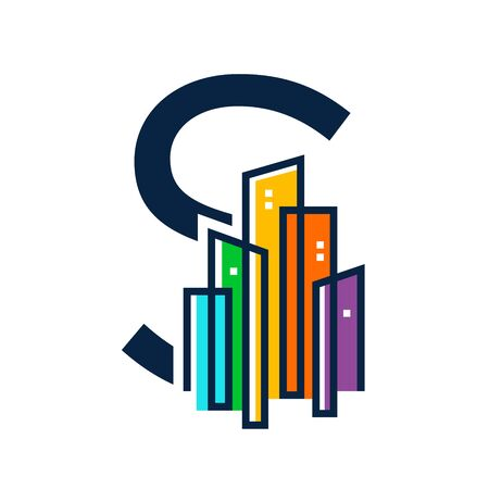 Simple, Clean and Eye catching logo design combining initial letter S with colorful mono line building.