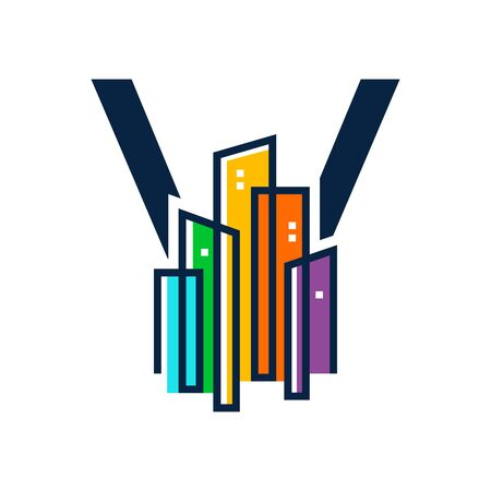 Simple, Clean and Eye catching logo design combining initial letter V with colorful mono line building.