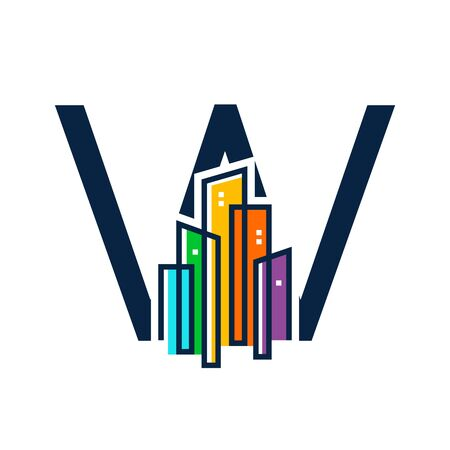 Simple, Clean and Eye catching logo design combining initial letter W with colorful mono line building.