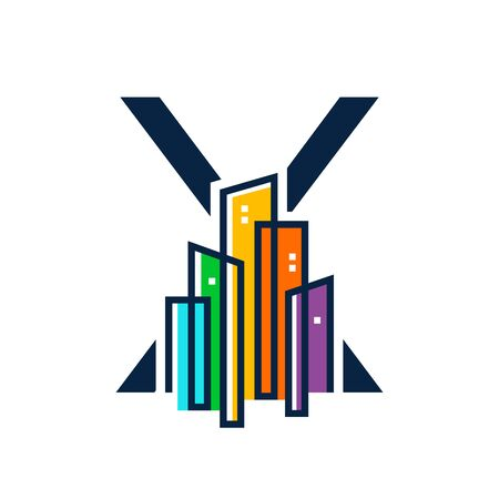 Simple, Clean and Eye catching logo design combining initial letter X with colorful mono line building.