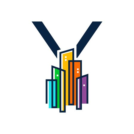 Simple, Clean and Eye catching logo design combining initial letter Y with colorful mono line building.