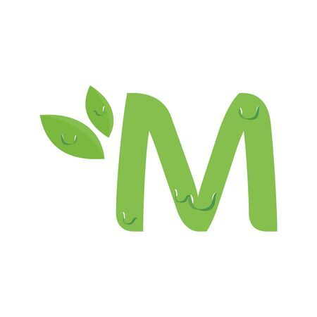 Simple and Fresh design Initial M with a dew.