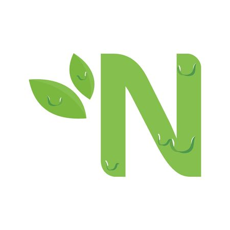Simple and Fresh design Initial N with a dew.