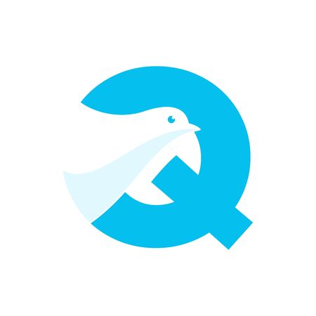 Simple and Clean illustration design initial Q combine with dove.