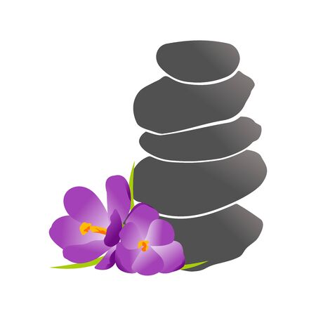 Modern and Clean logo design flower combine with stone balancing.