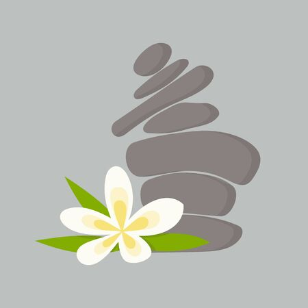 Simple and Charming logo design rock balancing with flower.