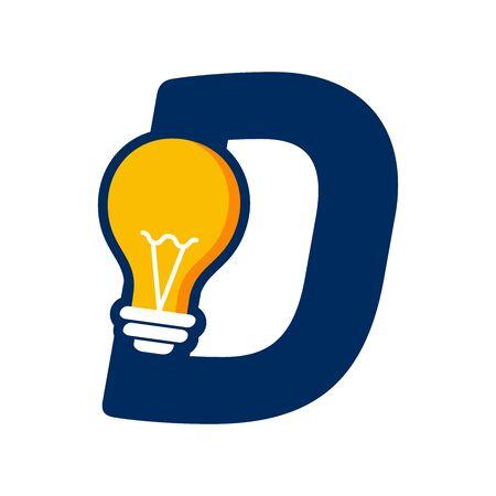 Modern logo design Initial D combine with Bulb ( idea icon)