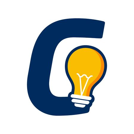 Modern logo design Initial G combine with Bulb ( idea icon)