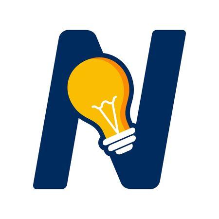 Modern logo design Initial N combine with Bulb ( idea icon) Illustration
