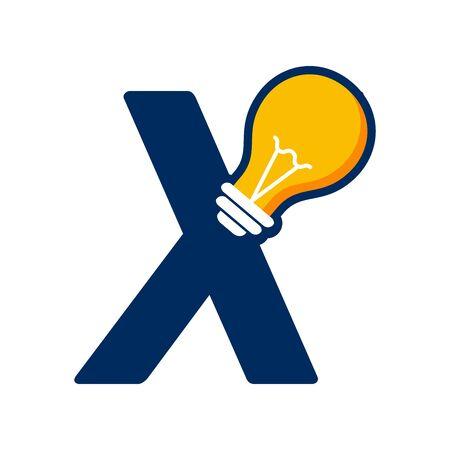 Modern logo design Initial X combine with Bulb ( idea icon)