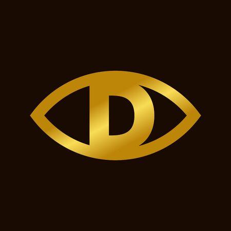 bold and elegant illustration golden eye font D
