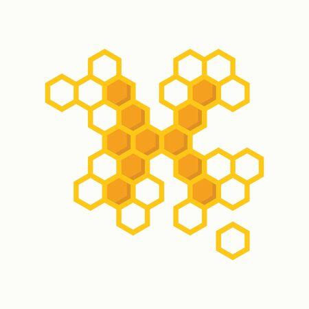 Simple illustration logo design initial K shaped like bee hive.