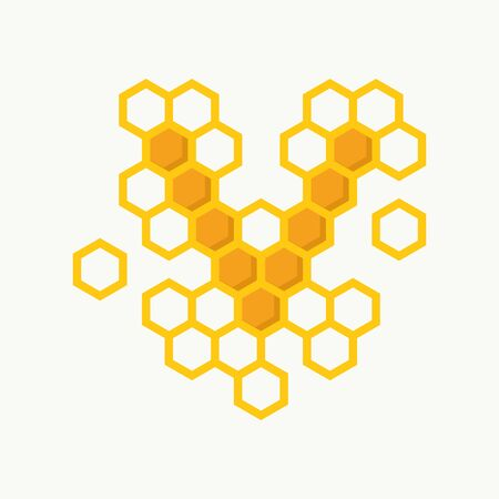 Simple illustration logo design initial V shaped like bee hive.