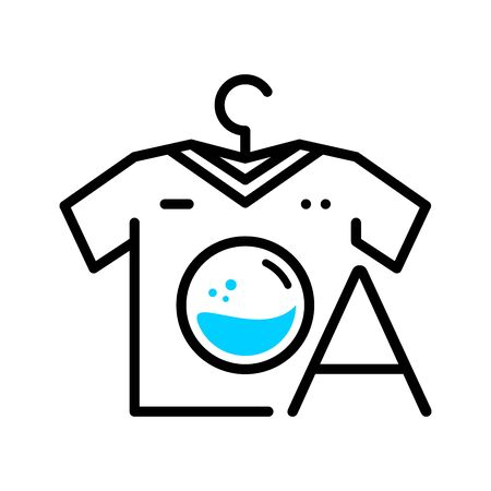 Simple, Clean and memorable logo design Laundry, combining Washing Machine, Clothes, Hanger and Letter A.