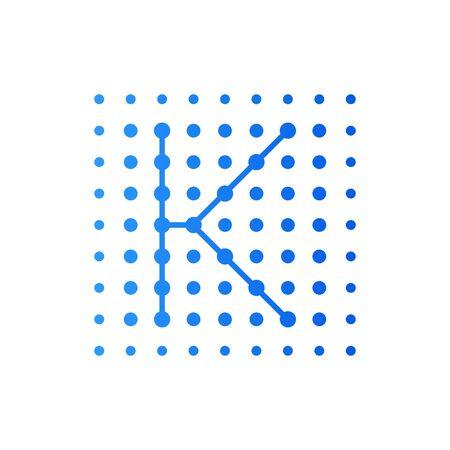 Simple logo illustration Letter K in dot shape like a square.