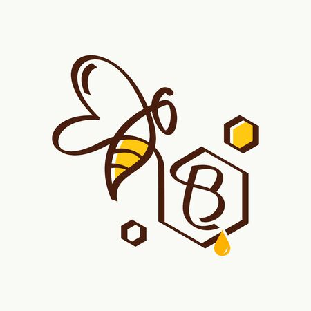 Simple and minimalist illustration logo design initial B combining with bee.