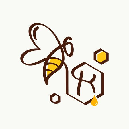 Simple and minimalist illustration logo design initial K combining with bee.
