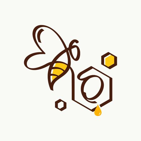 Simple and minimalist illustration logo design initial O combining with bee. Illustration