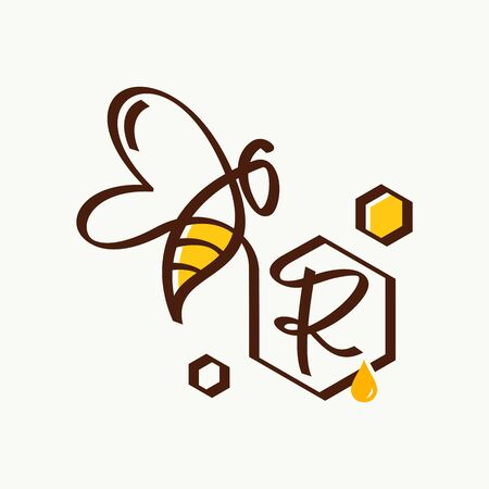 Simple and minimalist illustration logo design initial R combining with bee. Zdjęcie Seryjne - 143712050