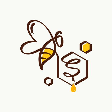 Simple and minimalist illustration logo design initial S combining with bee.