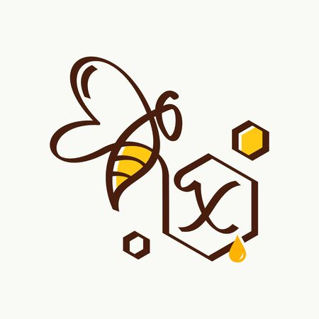 Simple and minimalist illustration logo design initial X combining with bee. Ilustracja