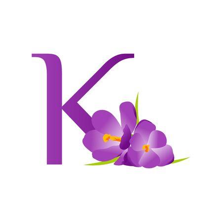 Beautiful and charming logo design initial K Combine with flower. Ilustração