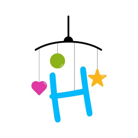 Playful and funny logo design Initial H combine with baby toy. Illustration