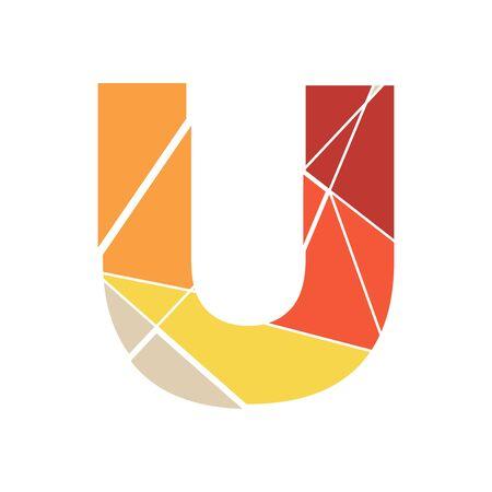 Modern and Clean Illustration logo design mosaic letter U