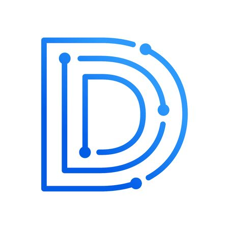Simple and modern illustration initial logo D circuit